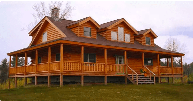 gorgeous log home with wrap around porch home the ledgewood log home has a huge wrap around porch for 135 900 7570